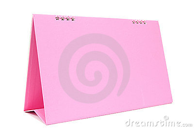 Pink blank desktop calendar with isolated