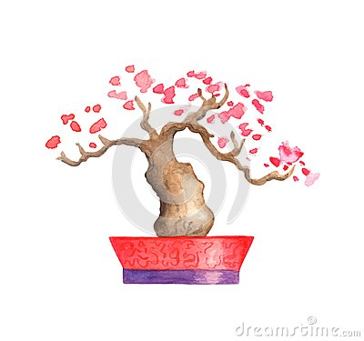 Free Pink Blooming Tree Watercolor Illustration On White Background. Oriental Tree With Pink Flowers. Stock Photography - 109161852