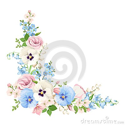 Free Pink, Blue And White Flowers. Vector Corner Background. Stock Images - 110248054