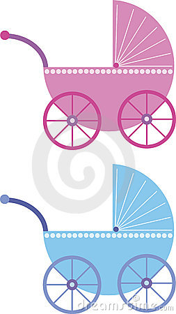 Pink and blue baby buggy