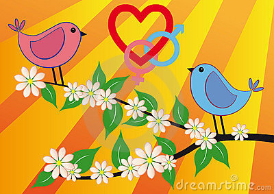 Pink and blue bird with love