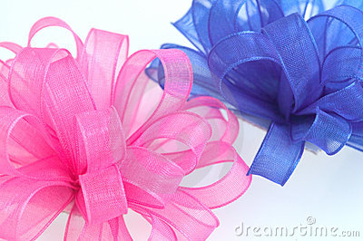 Pink and blue bows