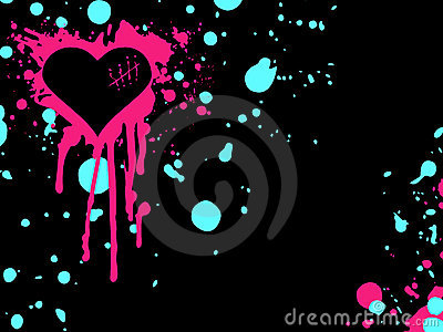 Pink and blue emo heart background