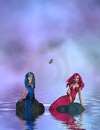 Pink and Blue Mermaids Sitting On Rocks