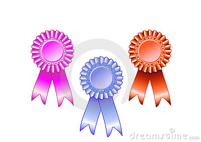 Pink, blue and red award rosette