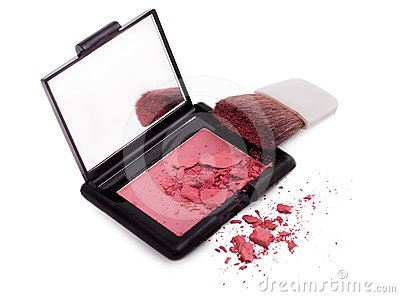 Pink blush with brush and mirror