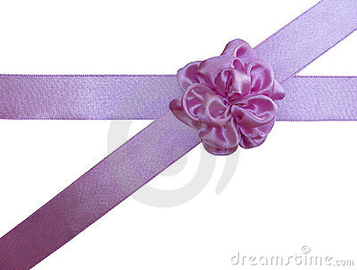 Pink bow-flower on the crossed ribbon