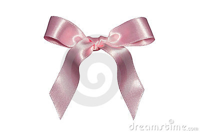 Pink bow,isolated