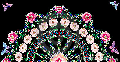 Pink brier flower half round pattern