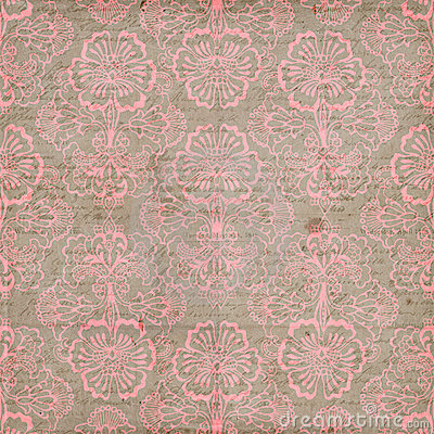 Pink and Brown Grungy Vintage Flower background