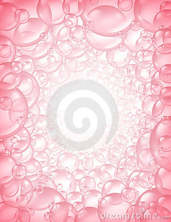 Pink bubbles in perspective background frame