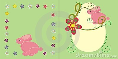 Pink bunny and flowers