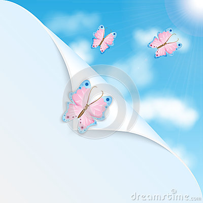 Pink butterflies and blue sky