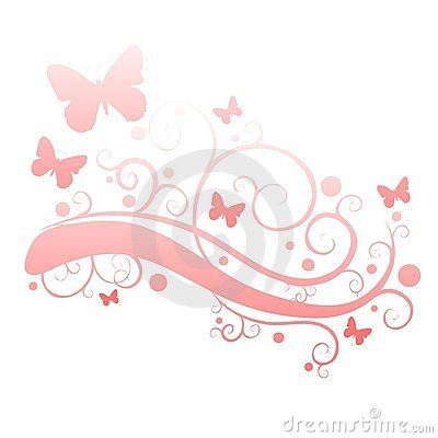 clip art illustration featuring pink colored butterflies amongst ...