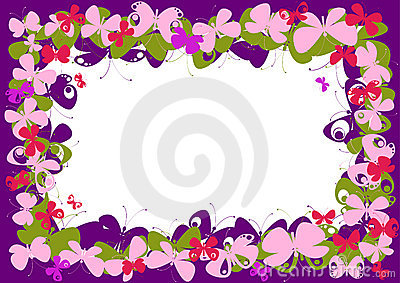 frame with butterfly pink stock illustration image 46243870