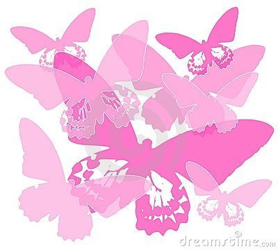 Pink Butterfly Silhouette Background