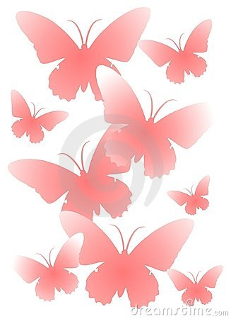 Pink Butterfly Silhouettes