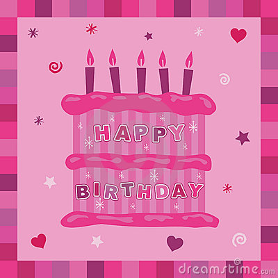 Pink cake birthday card