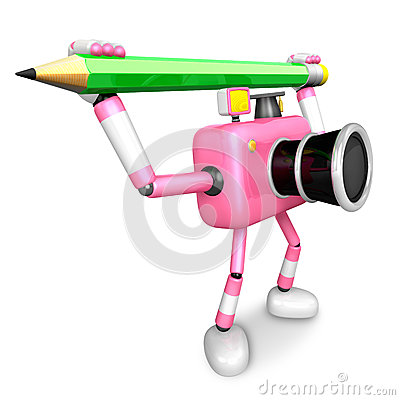 Pink camera with both hands holding a large pencil. Create 3D Ca