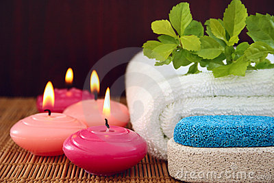 Pink candles,pumice,towel