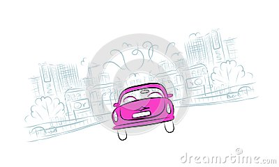 Pink car on the city road for your design