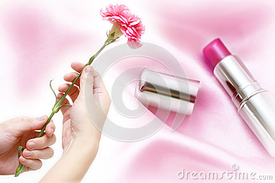 Pink carnation with cosmetic