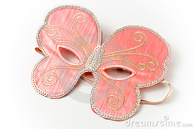 Pink carnival mask in  shape of a butterfly