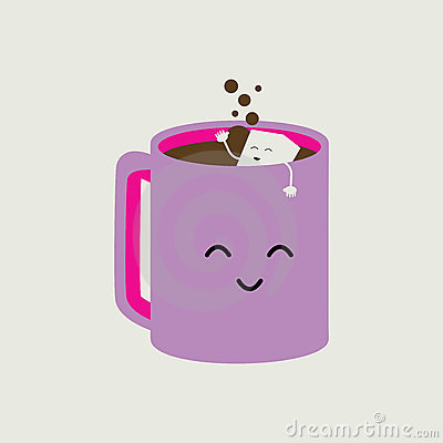 Pink Cartoon Coffee Cup Royalty Free Stock Image - Image: 20183216