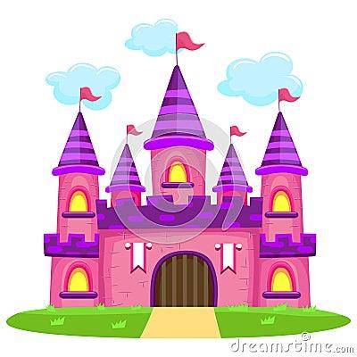 Pink Castle Vector Illustration