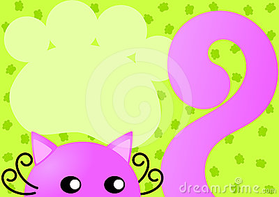 Pink Cat Invitation Card