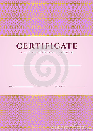 Pink Certificate, Diploma Template. Pattern Royalty Free ...