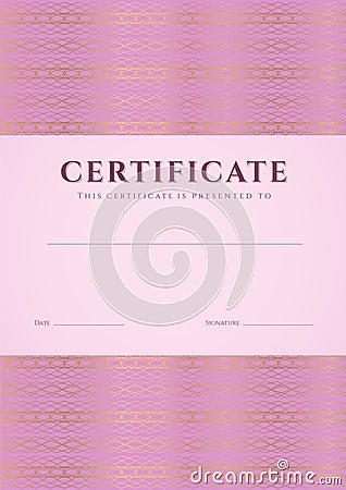 Pink Certificate, Diploma template. Pattern