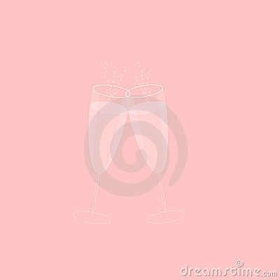 Pink Champagne Glasses with Bubbles