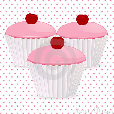 Pink cherry cupcakes