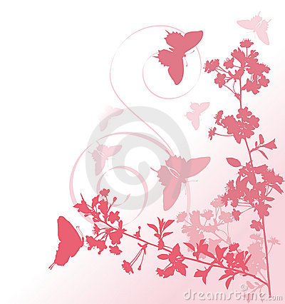 Free Pink Cherry Tree Flowers And Butterflies Stock Image - 5846121