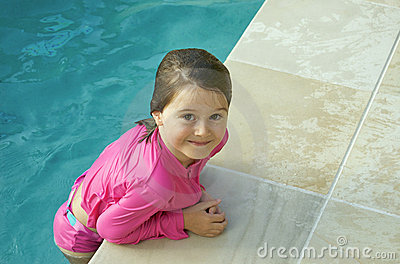 Pink child at the pool