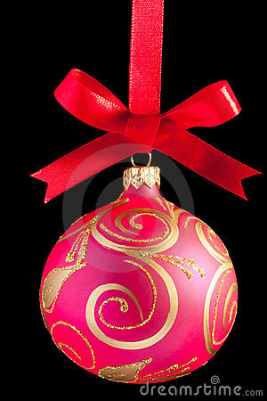 Pink Christmas ball on a ribbon