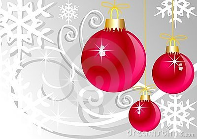 Pink christmas balls on grey background