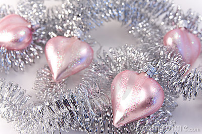 Pink christmas glass hearts