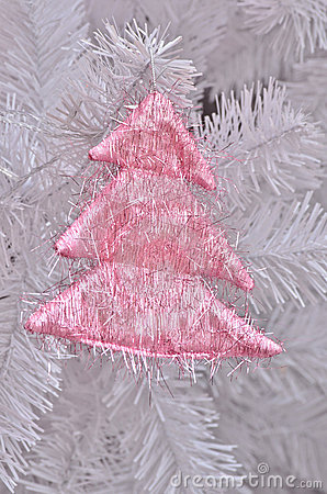 Pink christmas tree on christmas tree
