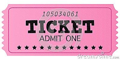 Pink cinema retro admit one ticket