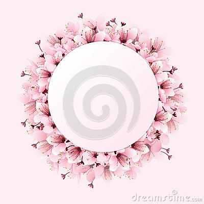Pink circle space with flower Vector Illustration