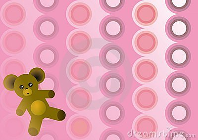 Pink Circles with Teddy Bear