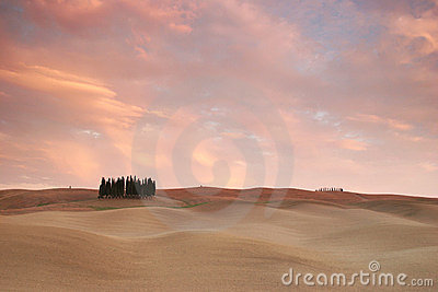 Pink clouds over tuscany