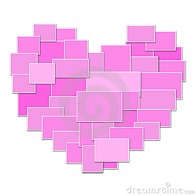 Pink collage heart