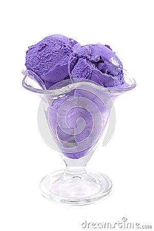 Pink color ice cream over white