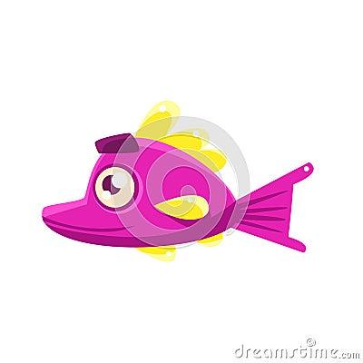 Free Pink Content Fantastic Aquarium Tropical Fish With Eyebrows Cartoon Character Stock Photo - 80310840