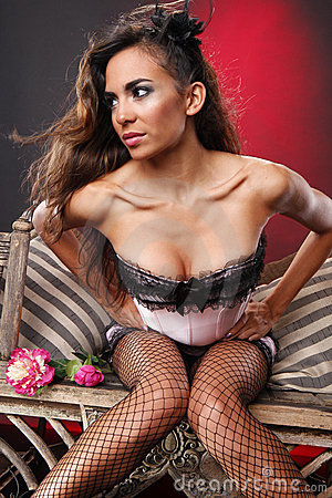Pink corset and fishnet stockings