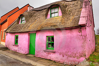 Pink cottage house in Doolin