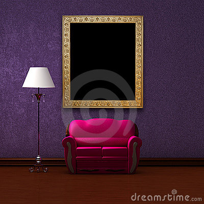 Free Pink Couch And Standard Lamp With Picture Frame Royalty Free Stock Photo - 17055315
